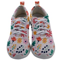 Flat Colorful Flowers Leaves Background Mens Athletic Shoes by Vaneshart