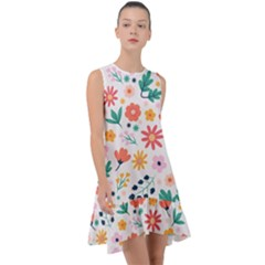 Flat Colorful Flowers Leaves Background Frill Swing Dress