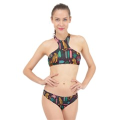 Vector Seamless Pattern With Leopards High Neck Bikini Set