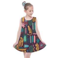 Vector Seamless Pattern With Leopards Kids  Summer Dress