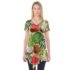 Tropical Pattern Background Short Sleeve Tunic  by Vaneshart