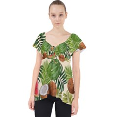 Tropical Pattern Background Lace Front Dolly Top
