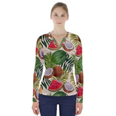 Tropical Pattern Background V Neck Long Sleeve Top