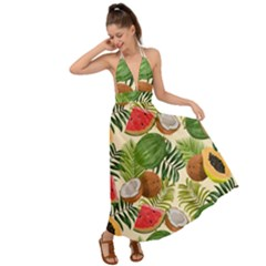 Tropical Pattern Background Backless Maxi Beach Dress