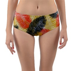 Tropical Seamless Pattern With Exotic Palm Leaves Reversible Mid Waist Bikini Bottoms