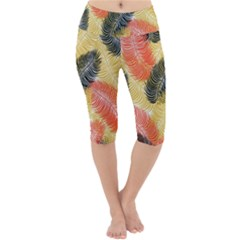 Tropical Seamless Pattern With Exotic Palm Leaves Lightweight Velour Cropped Yoga Leggings