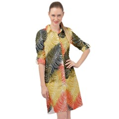 Tropical Seamless Pattern With Exotic Palm Leaves Long Sleeve Mini Shirt Dress