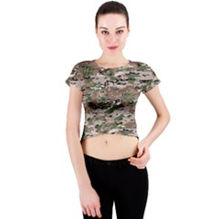 Fabric Camo Protective Crew Neck Crop Top