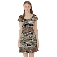Fabric Camo Protective Short Sleeve Skater Dress