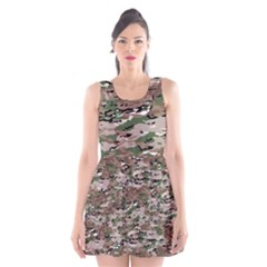 Fabric Camo Protective Scoop Neck Skater Dress