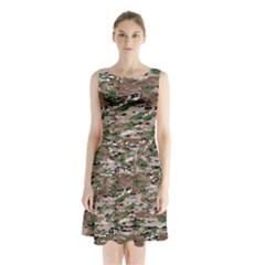 Fabric Camo Protective Sleeveless Waist Tie Chiffon Dress