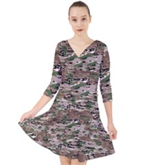 Fabric Camo Protective Quarter Sleeve Front Wrap Dress