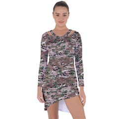 Fabric Camo Protective Asymmetric Cut Out Shift Dress