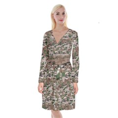 Fabric Camo Protective Long Sleeve Velvet Front Wrap Dress