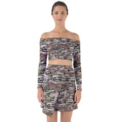 Fabric Camo Protective Off Shoulder Top With Skirt Set