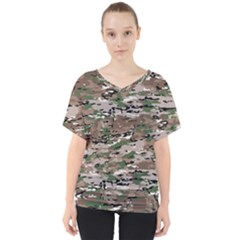 Fabric Camo Protective V Neck Dolman Drape Top