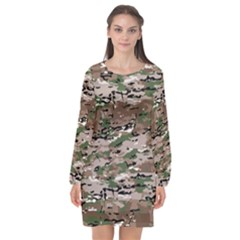 Fabric Camo Protective Long Sleeve Chiffon Shift Dress