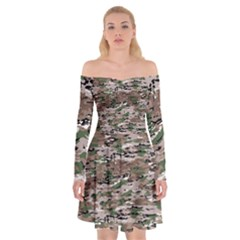 Fabric Camo Protective Off Shoulder Skater Dress