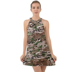 Fabric Camo Protective Halter Tie Back Chiffon Dress