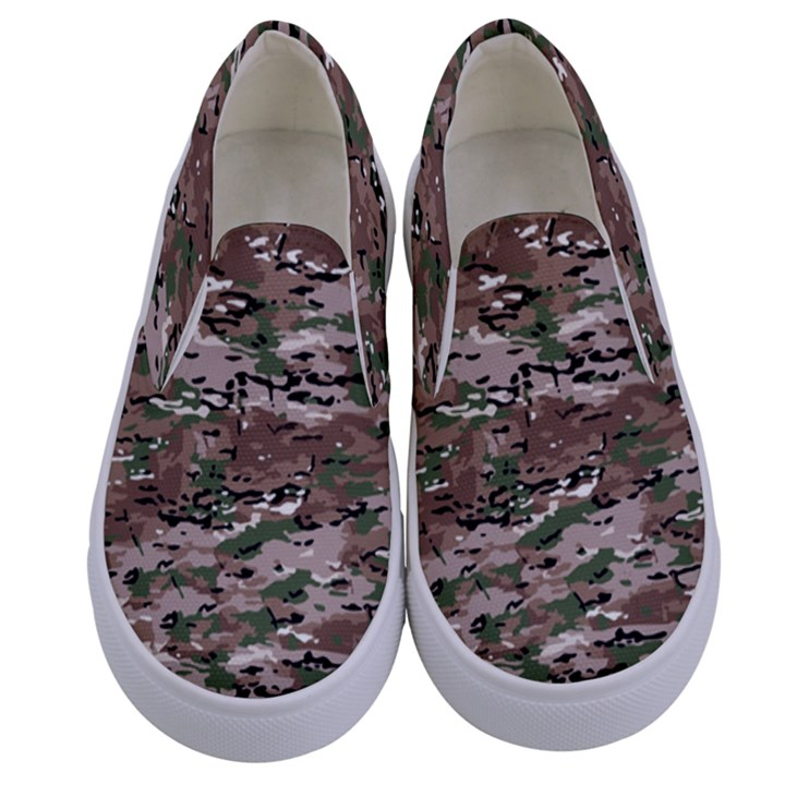 Fabric Camo Protective Kids  Canvas Slip Ons