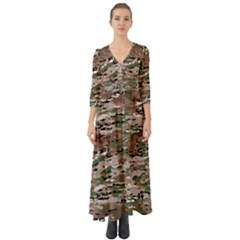 Fabric Camo Protective Button Up Boho Maxi Dress