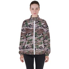 Fabric Camo Protective Women s High Neck Windbreaker
