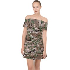 Fabric Camo Protective Off Shoulder Chiffon Dress
