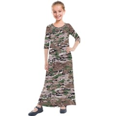 Fabric Camo Protective Kids  Quarter Sleeve Maxi Dress