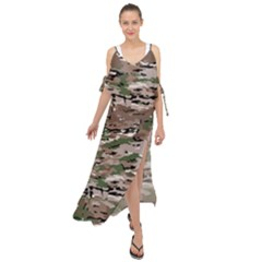 Fabric Camo Protective Maxi Chiffon Cover Up Dress