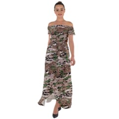 Fabric Camo Protective Off Shoulder Open Front Chiffon Dress