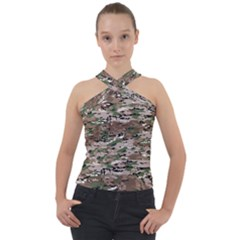 Fabric Camo Protective Cross Neck Velour Top
