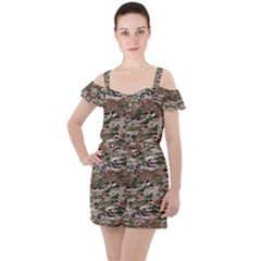 Fabric Camo Protective Ruffle Cut Out Chiffon Playsuit