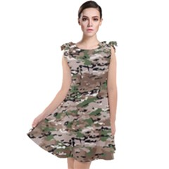 Fabric Camo Protective Tie Up Tunic Dress