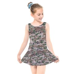 Fabric Camo Protective Kids  Skater Dress Swimsuit