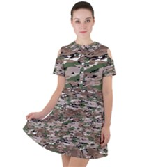 Fabric Camo Protective Short Sleeve Shoulder Cut Out Dress