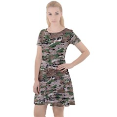 Fabric Camo Protective Cap Sleeve Velour Dress