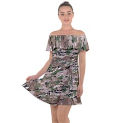 Fabric Camo Protective Off Shoulder Velour Dress