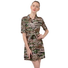 Fabric Camo Protective Belted Shirt Dress