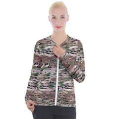 Fabric Camo Protective Casual Zip Up Jacket
