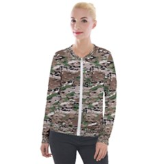 Fabric Camo Protective Velour Zip Up Jacket