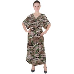 Fabric Camo Protective V Neck Boho Style Maxi Dress