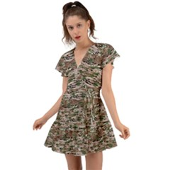 Fabric Camo Protective Flutter Sleeve Wrap Dress