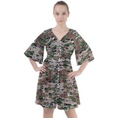 Fabric Camo Protective Boho Button Up Dress