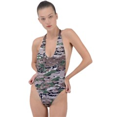 Fabric Camo Protective Backless Halter One Piece Swimsuit