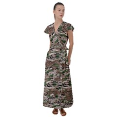 Fabric Camo Protective Flutter Sleeve Maxi Dress