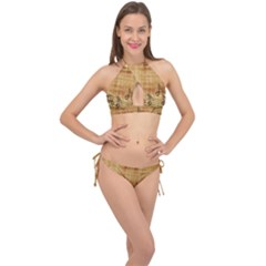 Dance Music Cross Front Halter Bikini Set