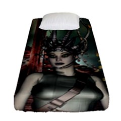Awesome Fantasy Women With Helmet Fitted Sheet (single Size) by FantasyWorld7
