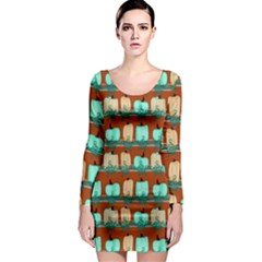 Bluegreen Pumpkins Long Sleeve Bodycon Dress by bloomingvinedesign
