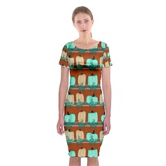 Bluegreen Pumpkins Classic Short Sleeve Midi Dress by bloomingvinedesign