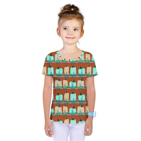 Bluegreen Pumpkins Kids  One Piece Tee by bloomingvinedesign